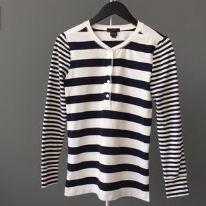 J. Crew Stretch Cotton Pajama Top in Stripe